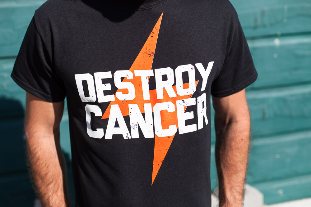 Destroy Cancer - Strength of a Giant shirt detail