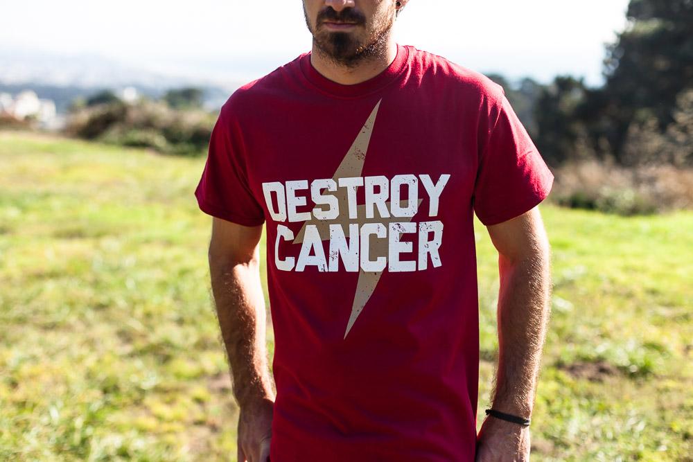 Destroy Cancer - Gold Rush shirt detail